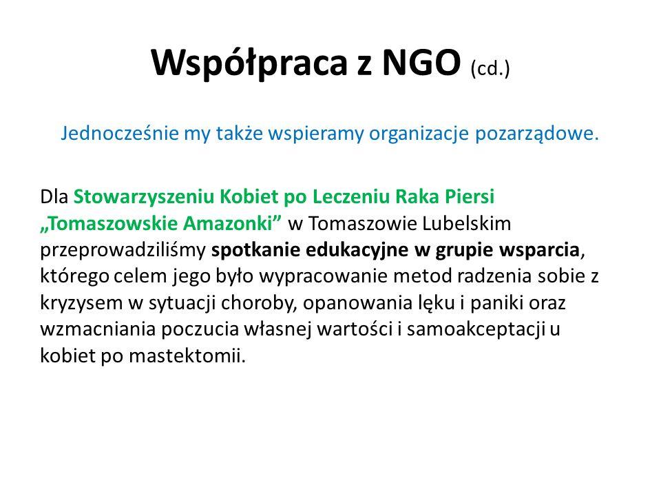 Jednocześnie my także wspieramy organizacje pozarządowe.