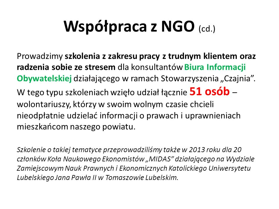 Współpraca z NGO (cd.)