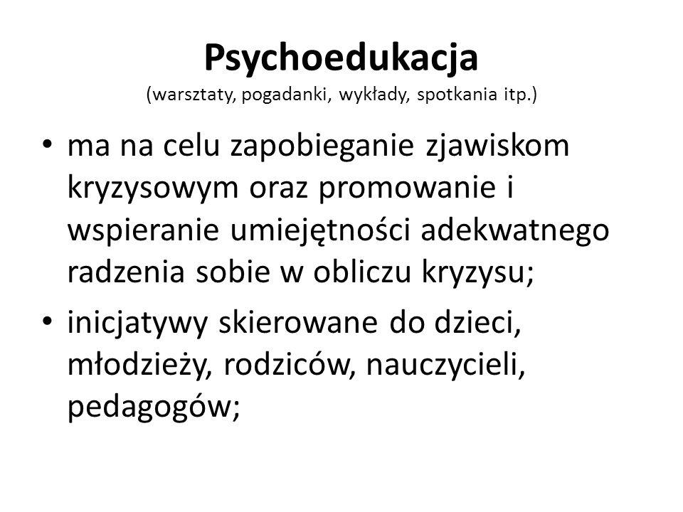 Psychoedukacja (warsztaty, pogadanki, wykłady, spotkania itp.)