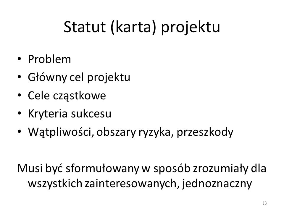 Statut (karta) projektu
