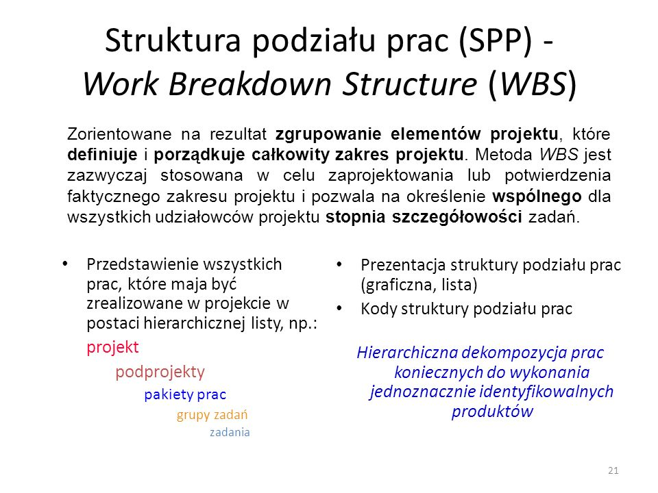 Struktura podziału prac (SPP) - Work Breakdown Structure (WBS)
