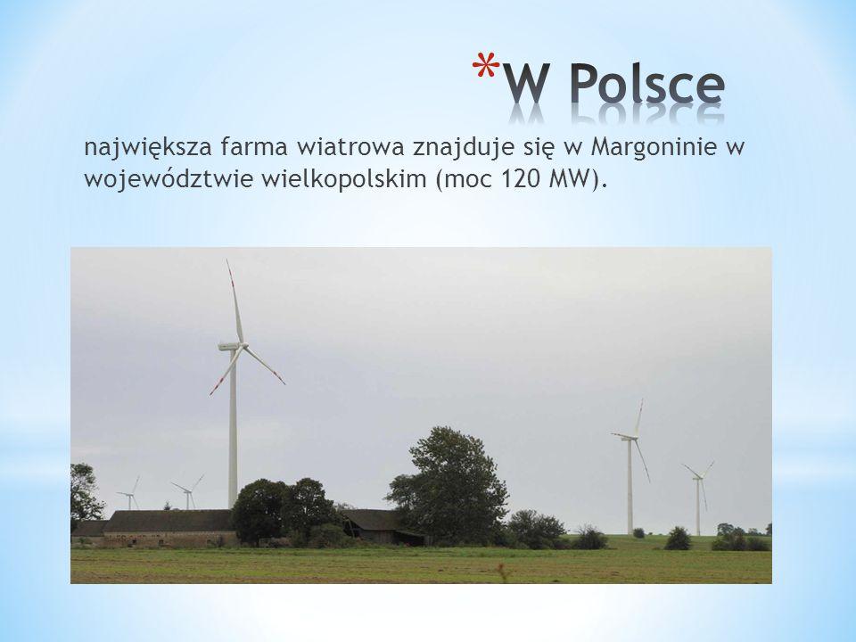 W Polsce największa farma wiatrowa znajduje się w Margoninie w województwie wielkopolskim (moc 120 MW).