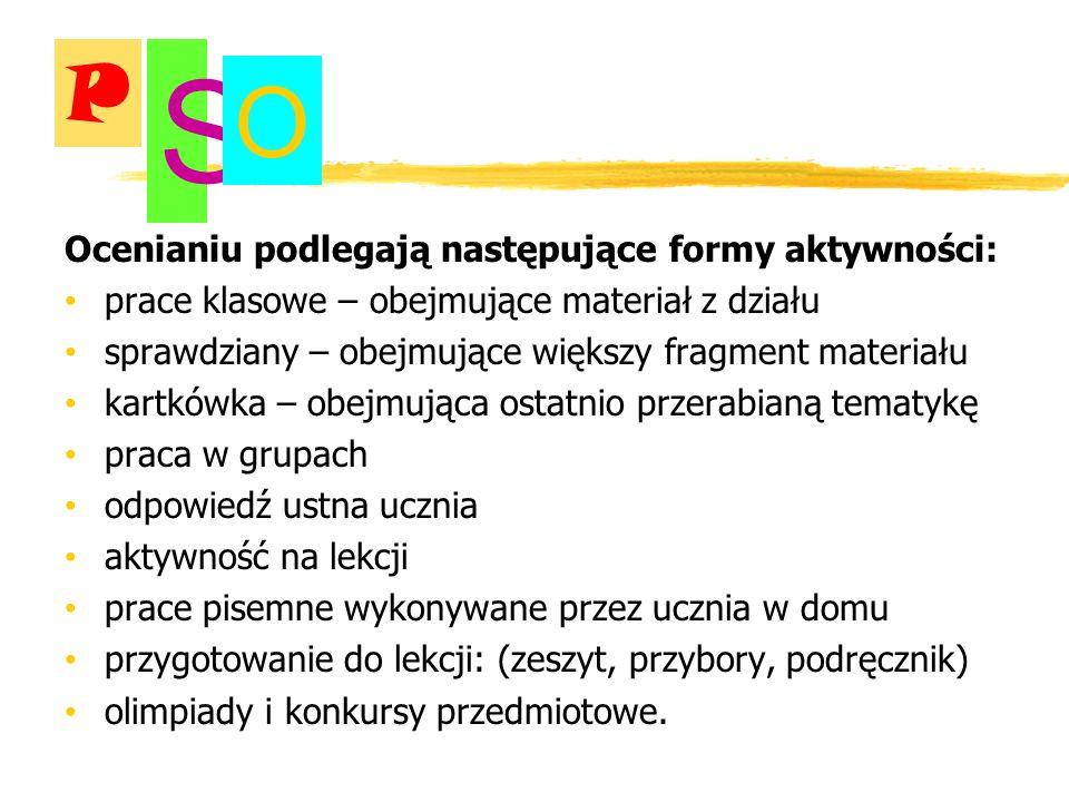 S O P Ocenianiu podlegają następujące formy aktywności: