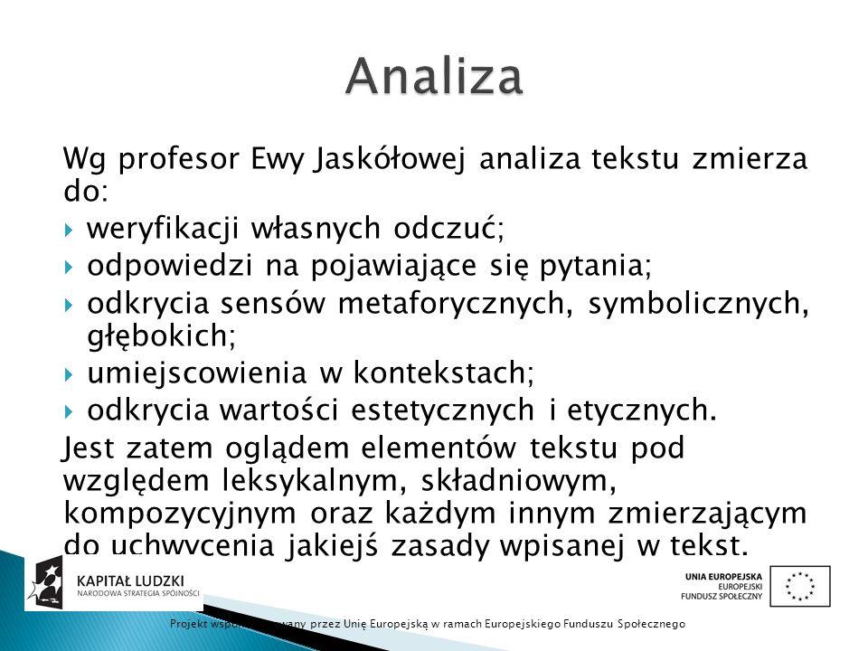 Analiza Wg profesor Ewy Jaskółowej analiza tekstu zmierza do: