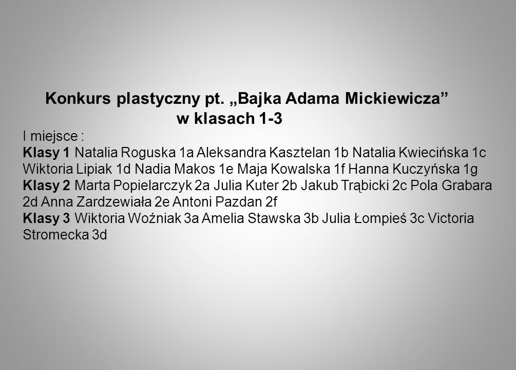 """Konkurs plastyczny pt. """"Bajka Adama Mickiewicza w klasach 1-3"""