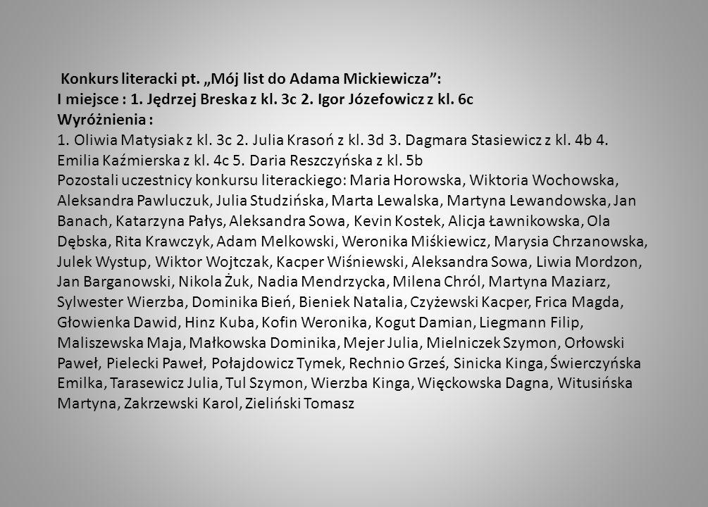 """Konkurs literacki pt. """"Mój list do Adama Mickiewicza :"""