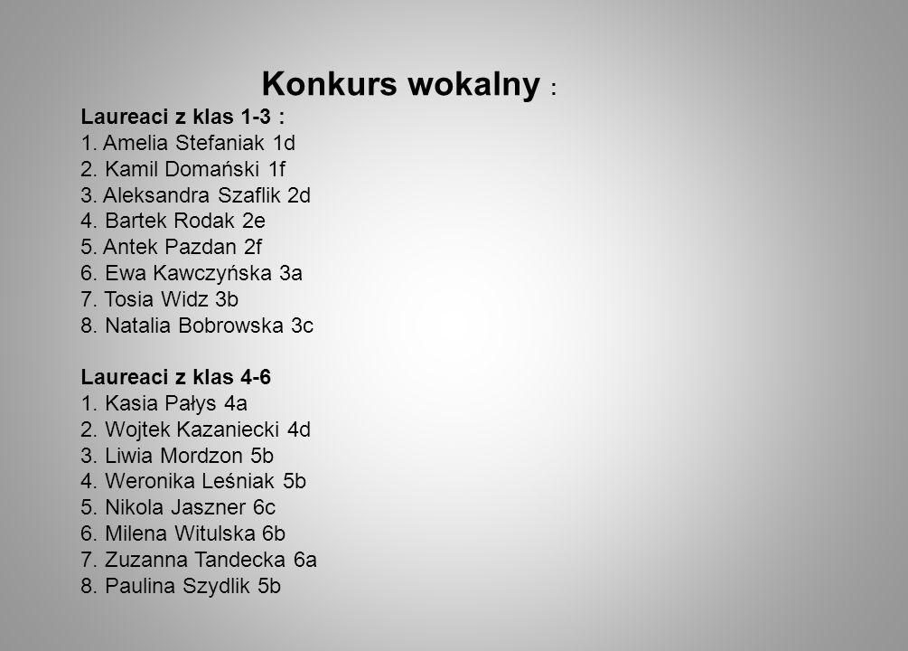 Konkurs wokalny : Laureaci z klas 1-3 : 1. Amelia Stefaniak 1d