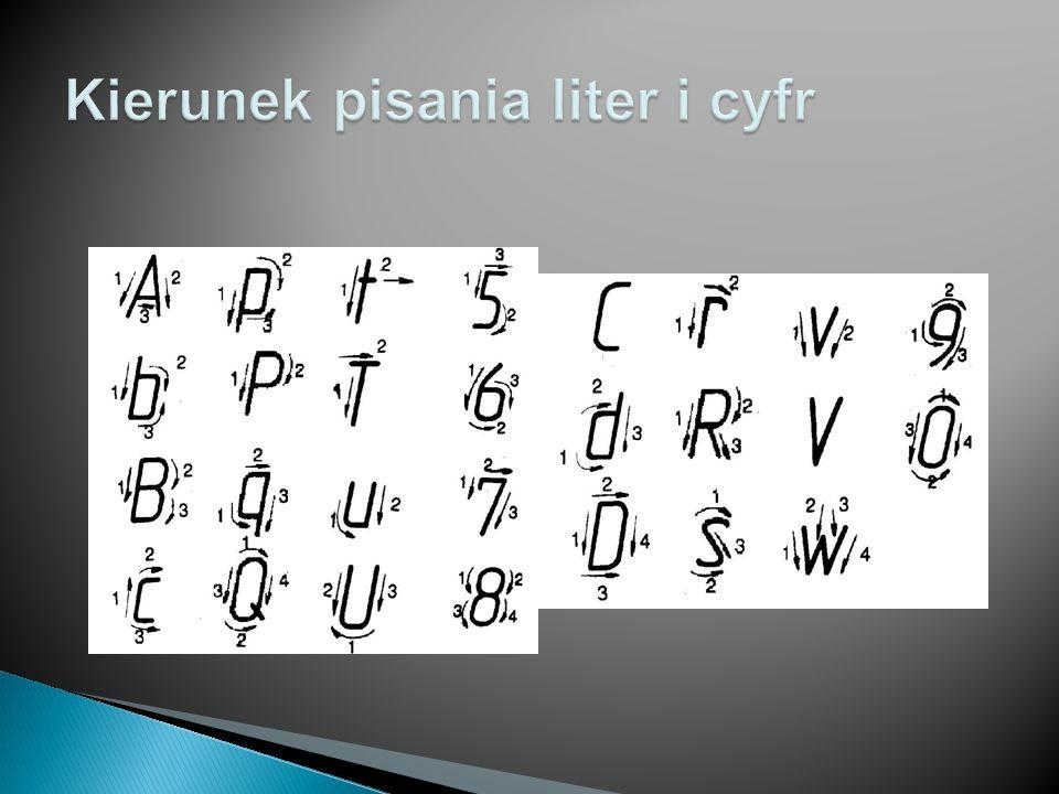 Kierunek pisania liter i cyfr