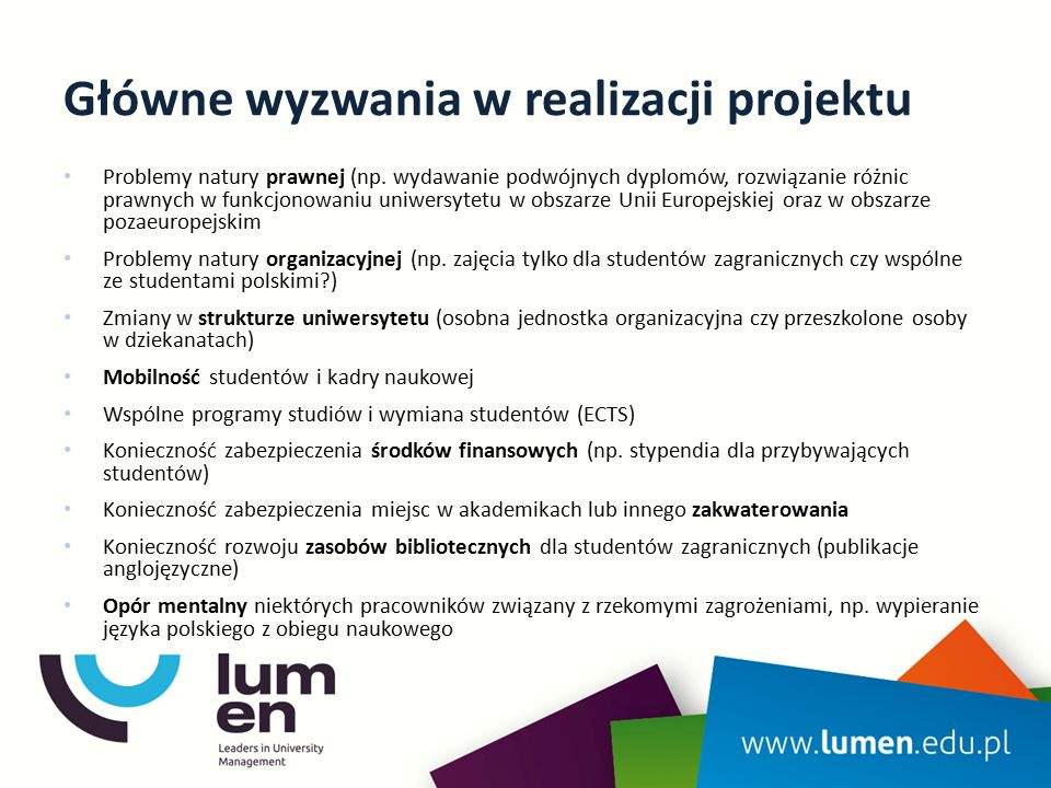 Główne wyzwania w realizacji projektu