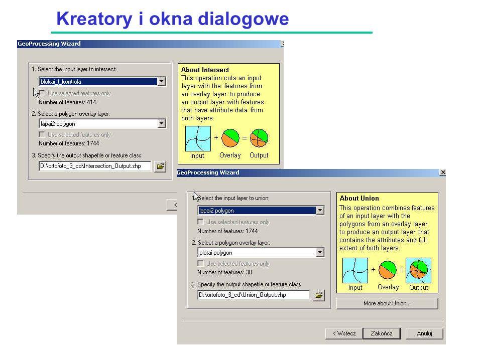 Kreatory i okna dialogowe