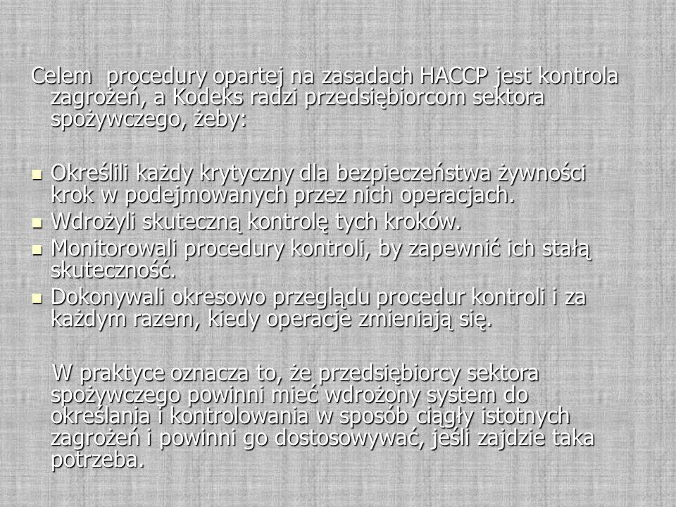 Celem procedury opartej na zasadach HACCP jest kontrola zagrożeń, a Kodeks radzi przedsiębiorcom sektora spożywczego, żeby: