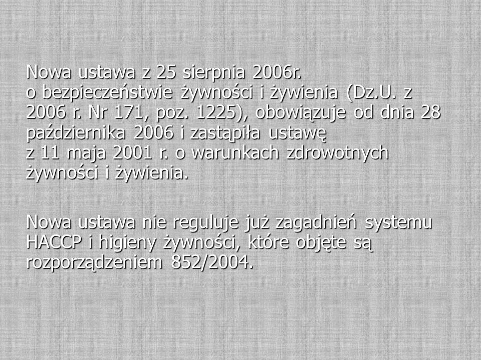 Nowa ustawa z 25 sierpnia 2006r