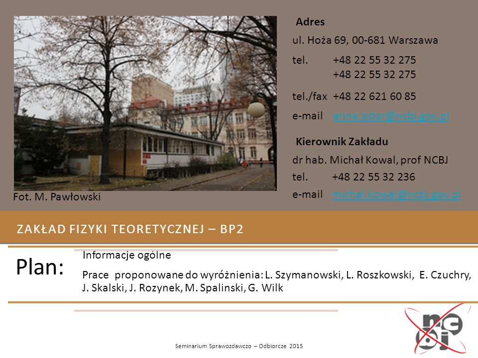 Zakład Fizyki teoretycznej – Bp2