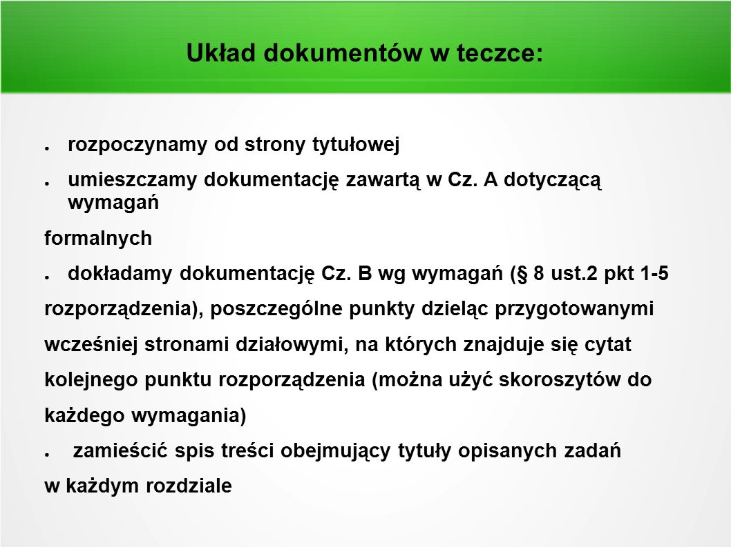 Układ dokumentów w teczce: