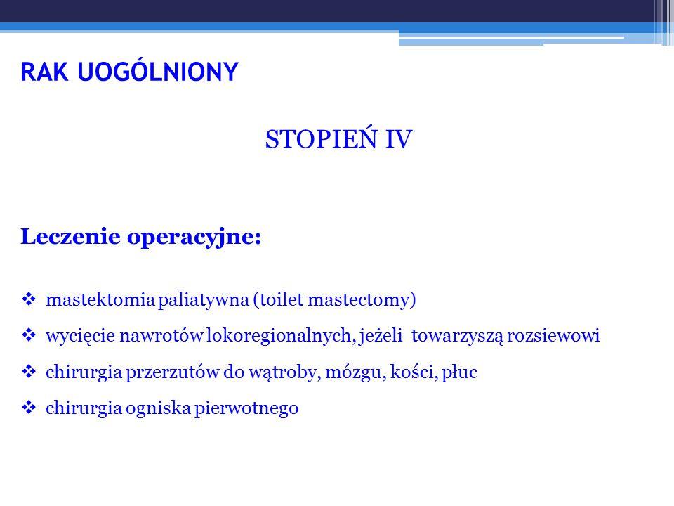 RAK UOGÓLNIONY STOPIEŃ IV Leczenie operacyjne: