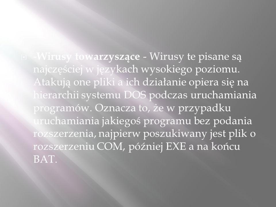 -Wirusy towarzyszące - Wirusy te pisane są najczęściej w językach wysokiego poziomu.
