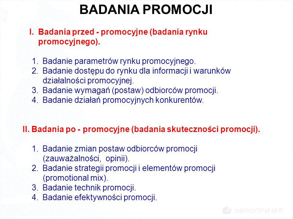 BADANIA PROMOCJI I. Badania przed - promocyjne (badania rynku