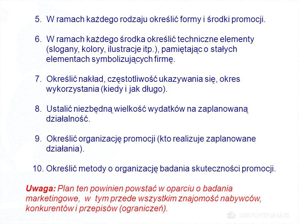 5. W ramach każdego rodzaju określić formy i środki promocji.
