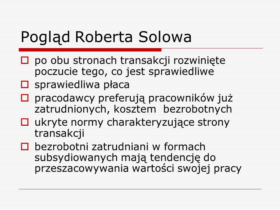 Pogląd Roberta Solowa po obu stronach transakcji rozwinięte poczucie tego, co jest sprawiedliwe. sprawiedliwa płaca.