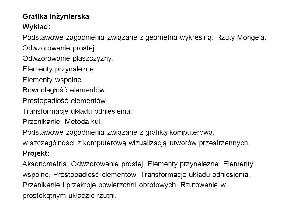 Grafika inżynierska Wykład: Podstawowe zagadnienia związane z geometrią wykreślną̨: Rzuty Monge'a. Odwzorowanie prostej.