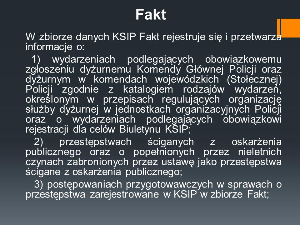 Fakt W zbiorze danych KSIP Fakt rejestruje się i przetwarza informacje o: