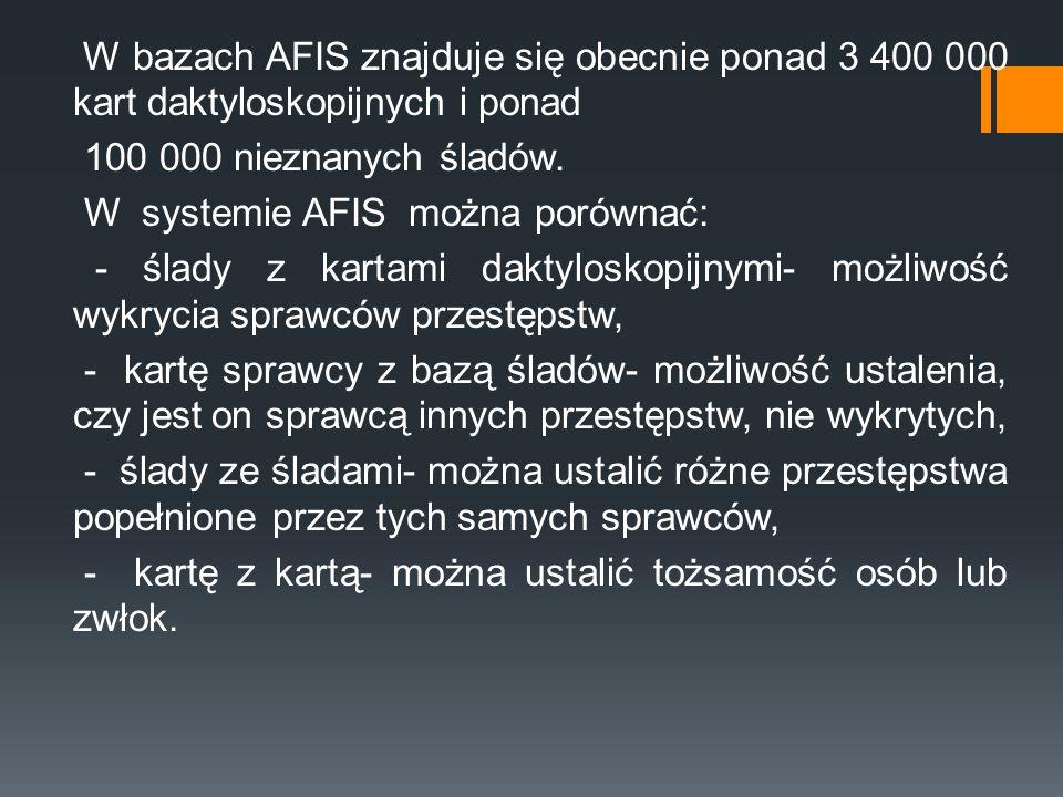 W bazach AFIS znajduje się obecnie ponad 3 400 000 kart daktyloskopijnych i ponad 100 000 nieznanych śladów.