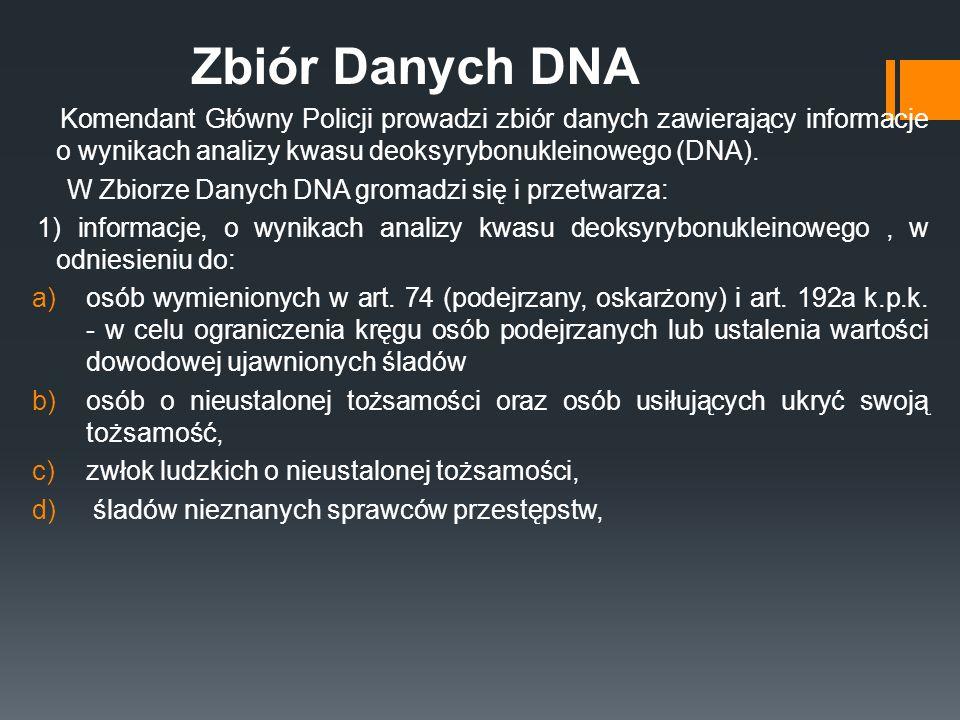 Zbiór Danych DNA Komendant Główny Policji prowadzi zbiór danych zawierający informacje o wynikach analizy kwasu deoksyrybonukleinowego (DNA).