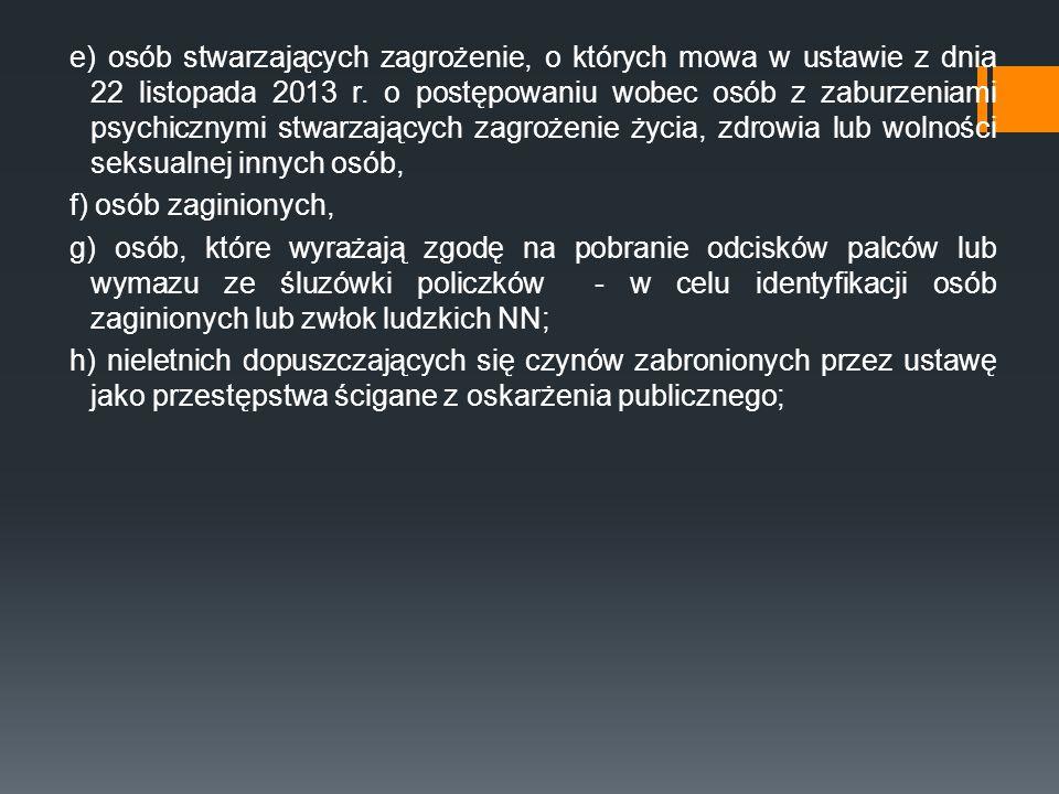 e) osób stwarzających zagrożenie, o których mowa w ustawie z dnia 22 listopada 2013 r.