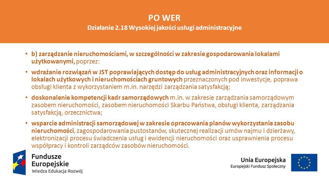 Działanie 2.18 Wysokiej jakości usługi administracyjne
