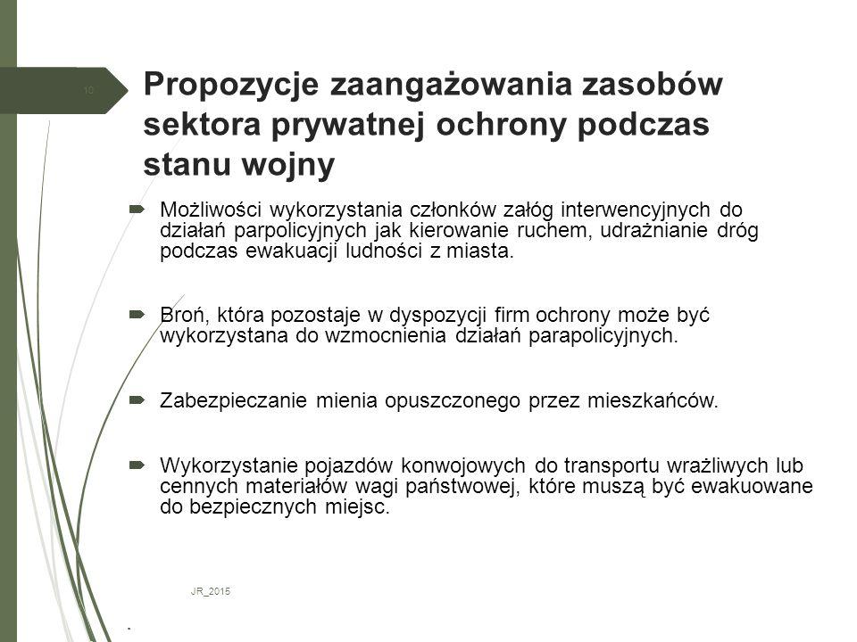 Propozycje zaangażowania zasobów sektora prywatnej ochrony podczas stanu wojny