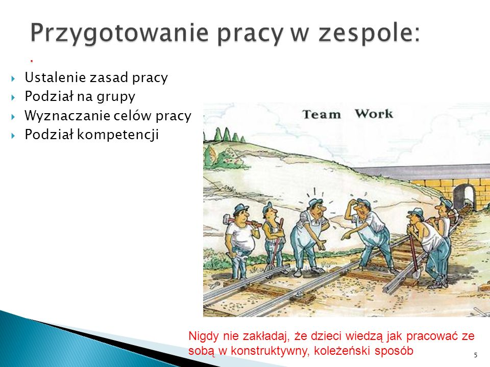 Przygotowanie pracy w zespole: .