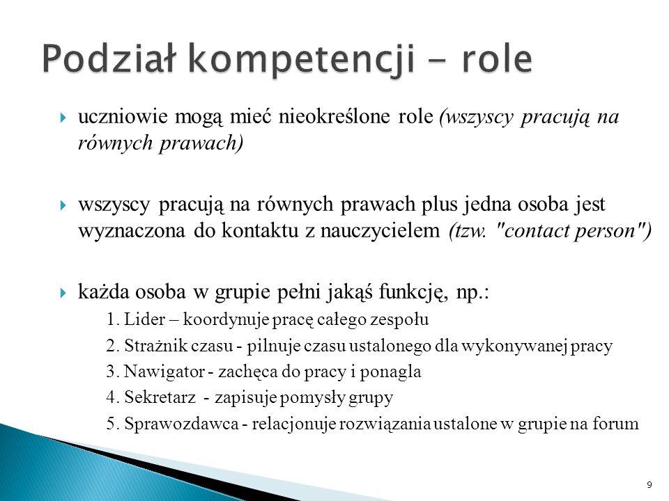 Podział kompetencji - role