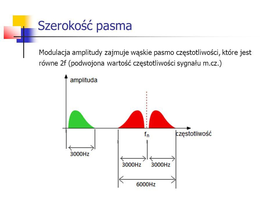 Szerokość pasma Modulacja amplitudy zajmuje wąskie pasmo częstotliwości, które jest.