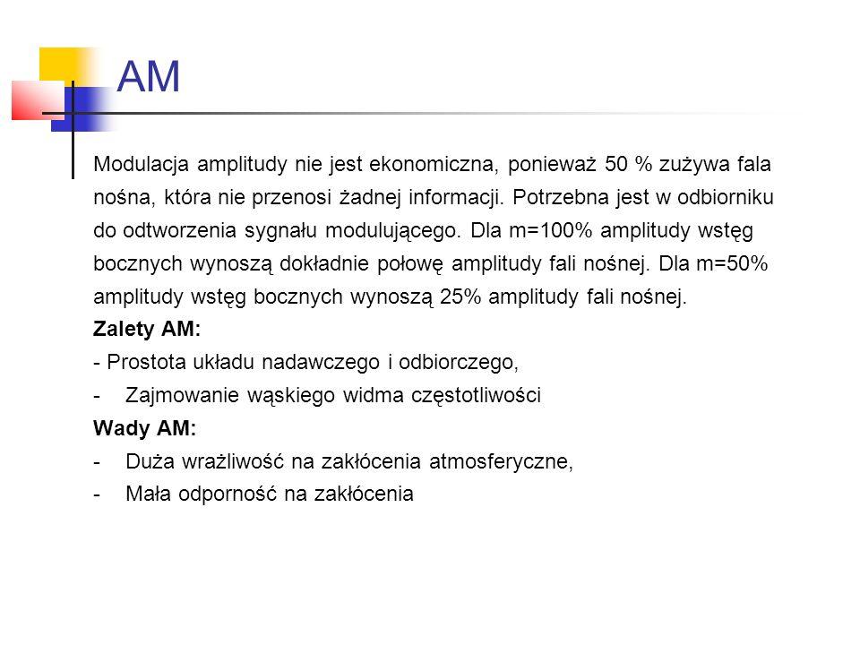 AM Modulacja amplitudy nie jest ekonomiczna, ponieważ 50 % zużywa fala