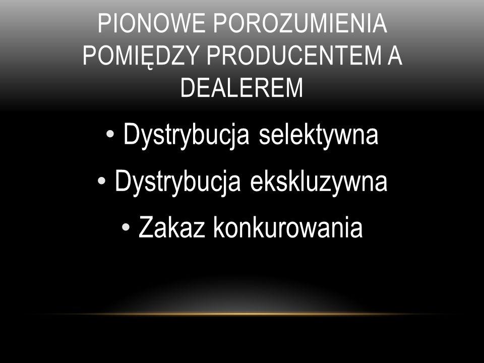 Pionowe porozumienia pomiędzy Producentem a dealerem