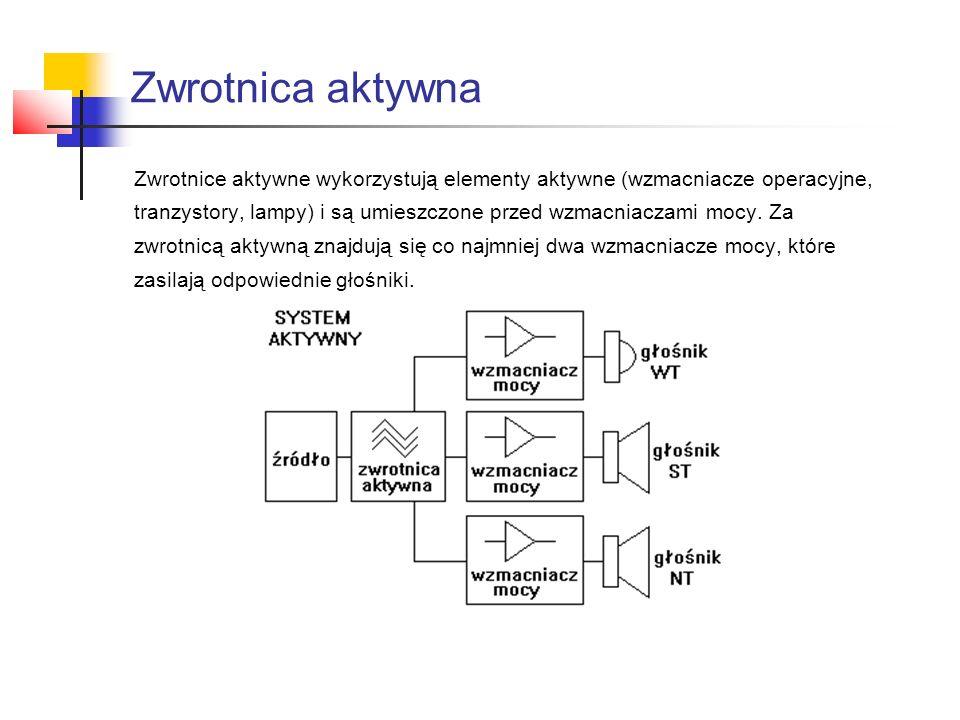 Zwrotnica aktywna Zwrotnice aktywne wykorzystują elementy aktywne (wzmacniacze operacyjne,