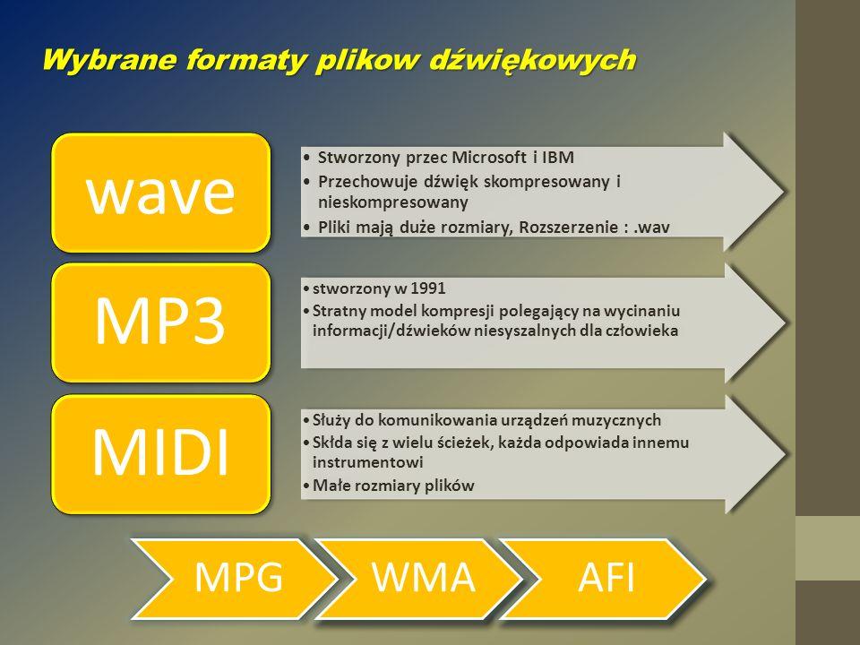 wave MP3 MIDI MPG WMA AFI Wybrane formaty plikow dźwiękowych