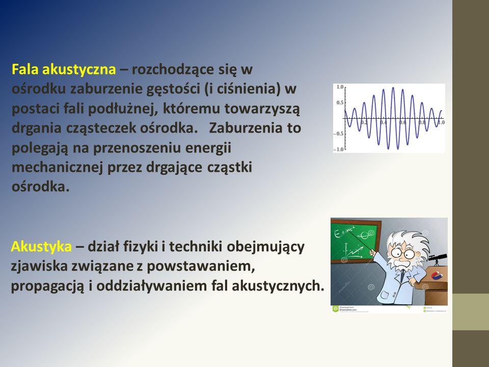 Fala akustyczna – rozchodzące się w ośrodku zaburzenie gęstości (i ciśnienia) w postaci fali podłużnej, któremu towarzyszą drgania cząsteczek ośrodka. Zaburzenia to polegają na przenoszeniu energii mechanicznej przez drgające cząstki ośrodka.