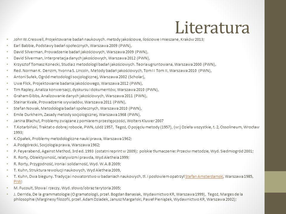 Literatura John W.Creswell, Projektowanie badań naukowych. metody jakościowe, ilościowe i mieszane, Kraków 2013;