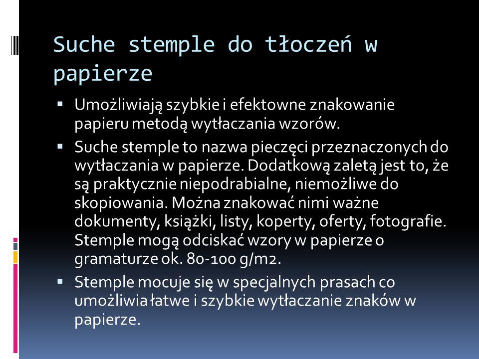Suche stemple do tłoczeń w papierze
