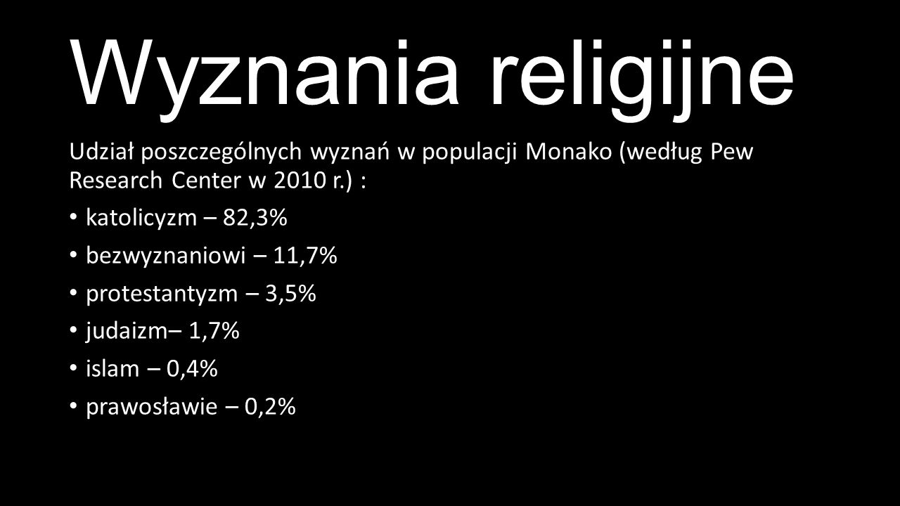 Wyznania religijne Udział poszczególnych wyznań w populacji Monako (według Pew Research Center w 2010 r.) :