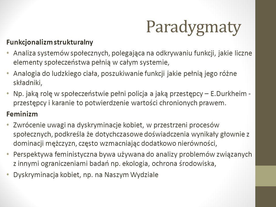 Paradygmaty Funkcjonalizm strukturalny