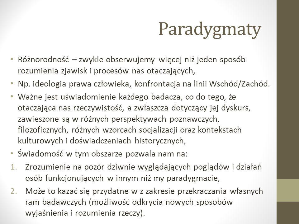 Paradygmaty Różnorodność – zwykle obserwujemy więcej niż jeden sposób rozumienia zjawisk i procesów nas otaczających,