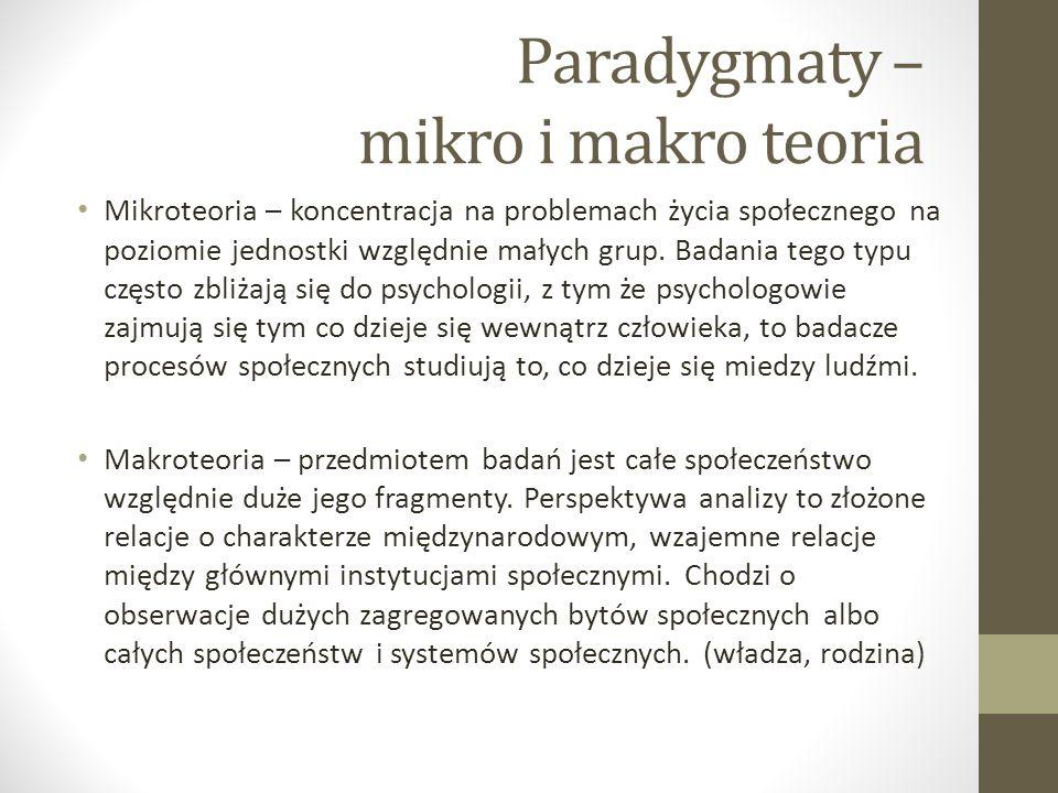 Paradygmaty – mikro i makro teoria