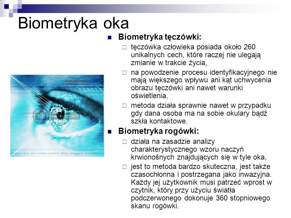 Biometryka oka Biometryka tęczówki: Biometryka rogówki:
