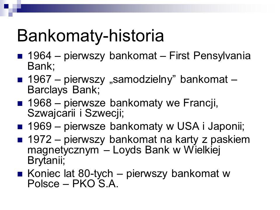 Bankomaty-historia 1964 – pierwszy bankomat – First Pensylvania Bank;