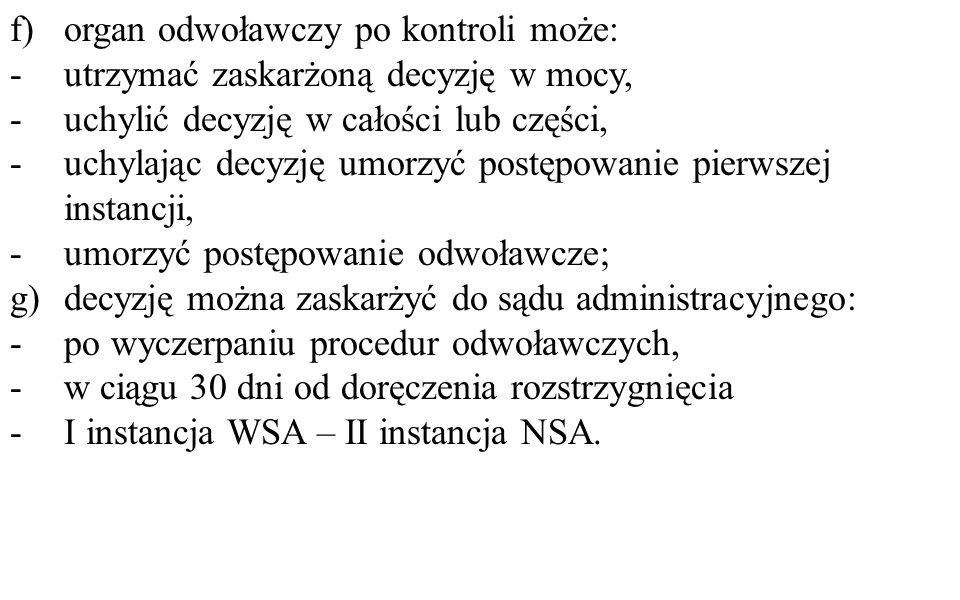 f) organ odwoławczy po kontroli może: