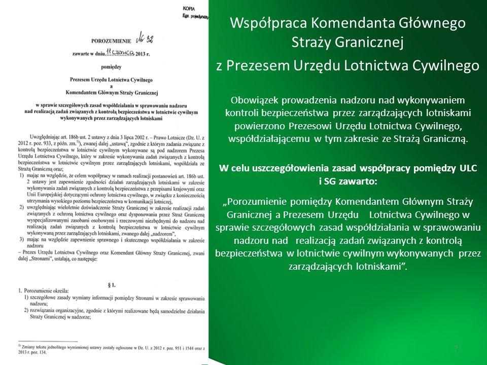 W celu uszczegółowienia zasad współpracy pomiędzy ULC i SG zawarto: