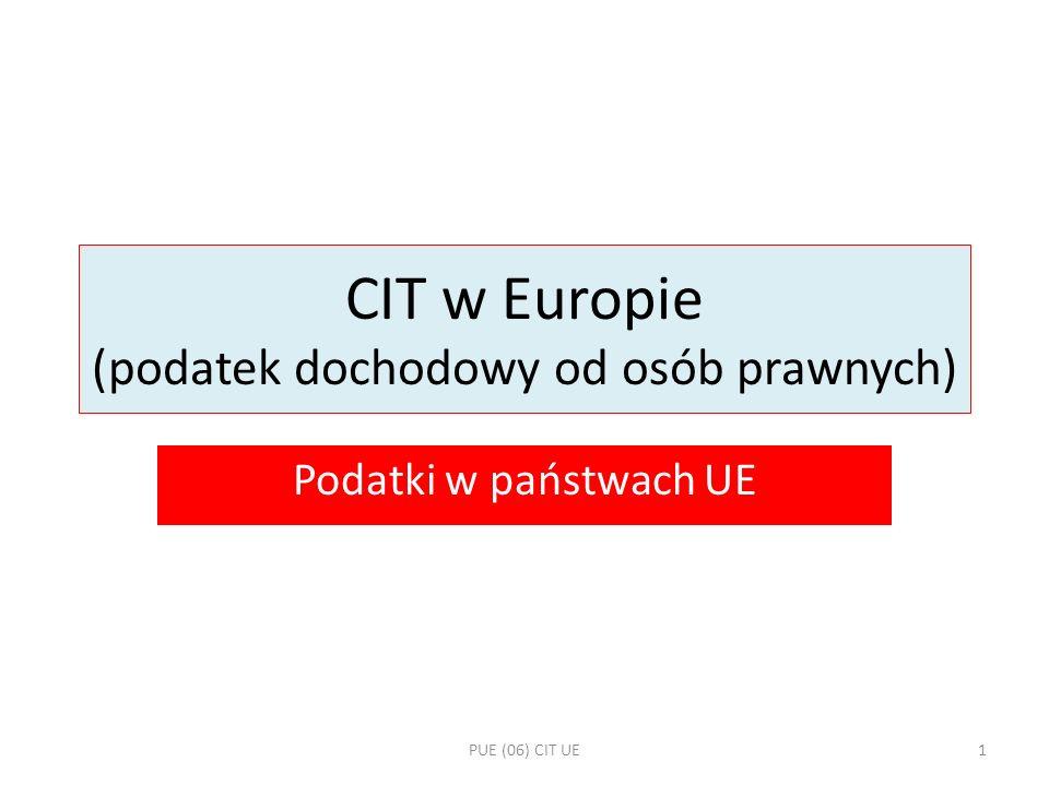 CIT w Europie (podatek dochodowy od osób prawnych)