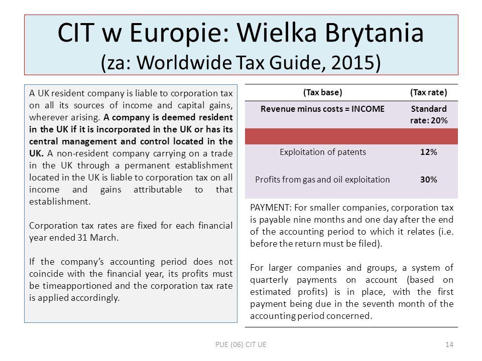 CIT w Europie: Wielka Brytania (za: Worldwide Tax Guide, 2015)